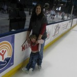 "Holding up my daughter as she ""skates""."